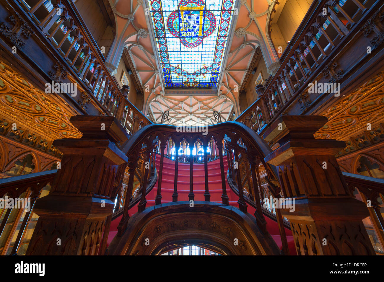 Lello and Irmao bookshop, Spiral stairs, Oporto, Portugal - Stock Image