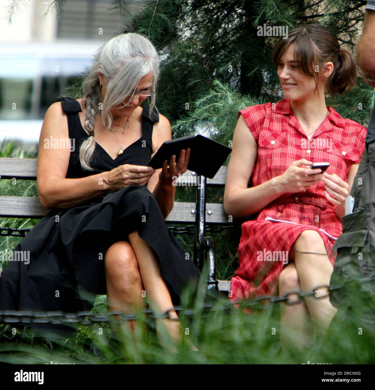 Keira Knightley and mother Sharman MacDonald on the set of