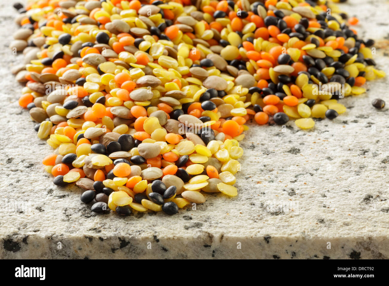 Varied types of Lentils Stock Photo