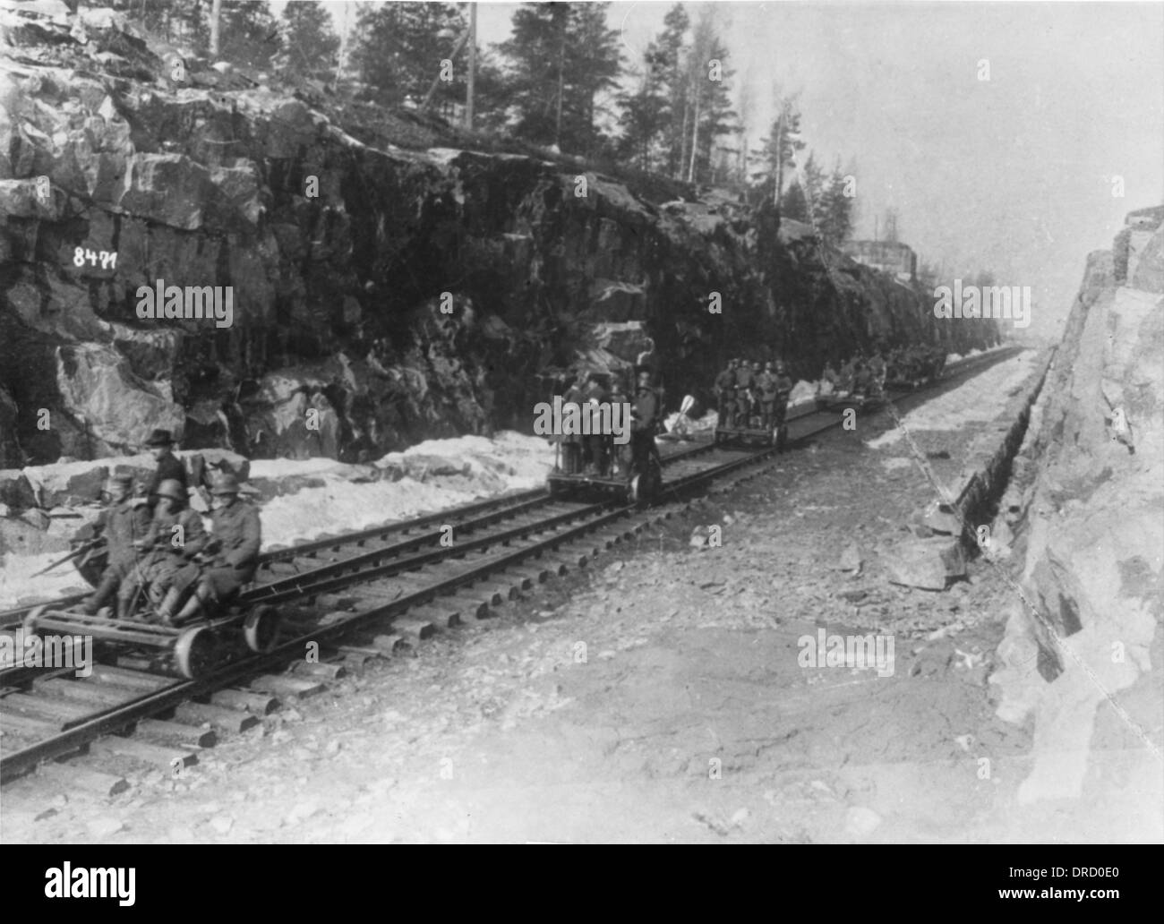 Rail troop transport WWI - Stock Image