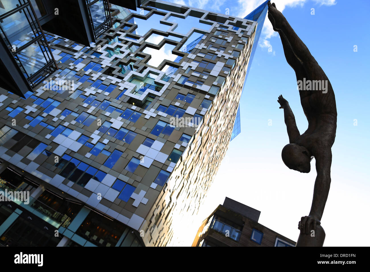 The Cube Birmingham, home of Hotel Indigo and Marco Pierre White, designed by Ken Shuttleworth - Stock Image