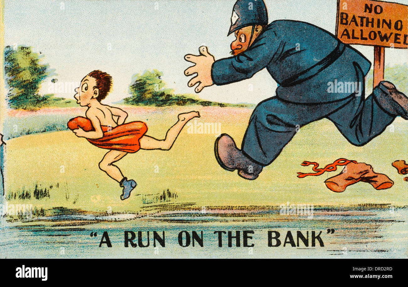Comic Postcard - Policeman chases illegal bather - Stock Image