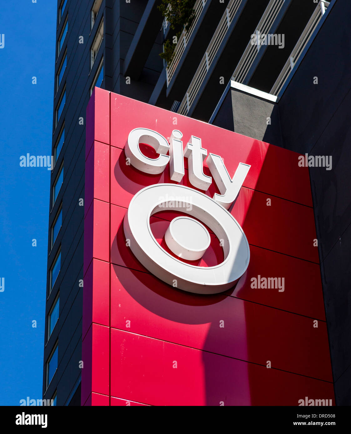 Target logo on the side of the City Target store on Pike Street in downtown Seattle, Washington, USA - Stock Image