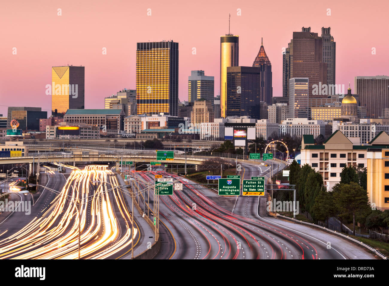 Atlanta, Georgia, USA twilight rush hour. - Stock Image