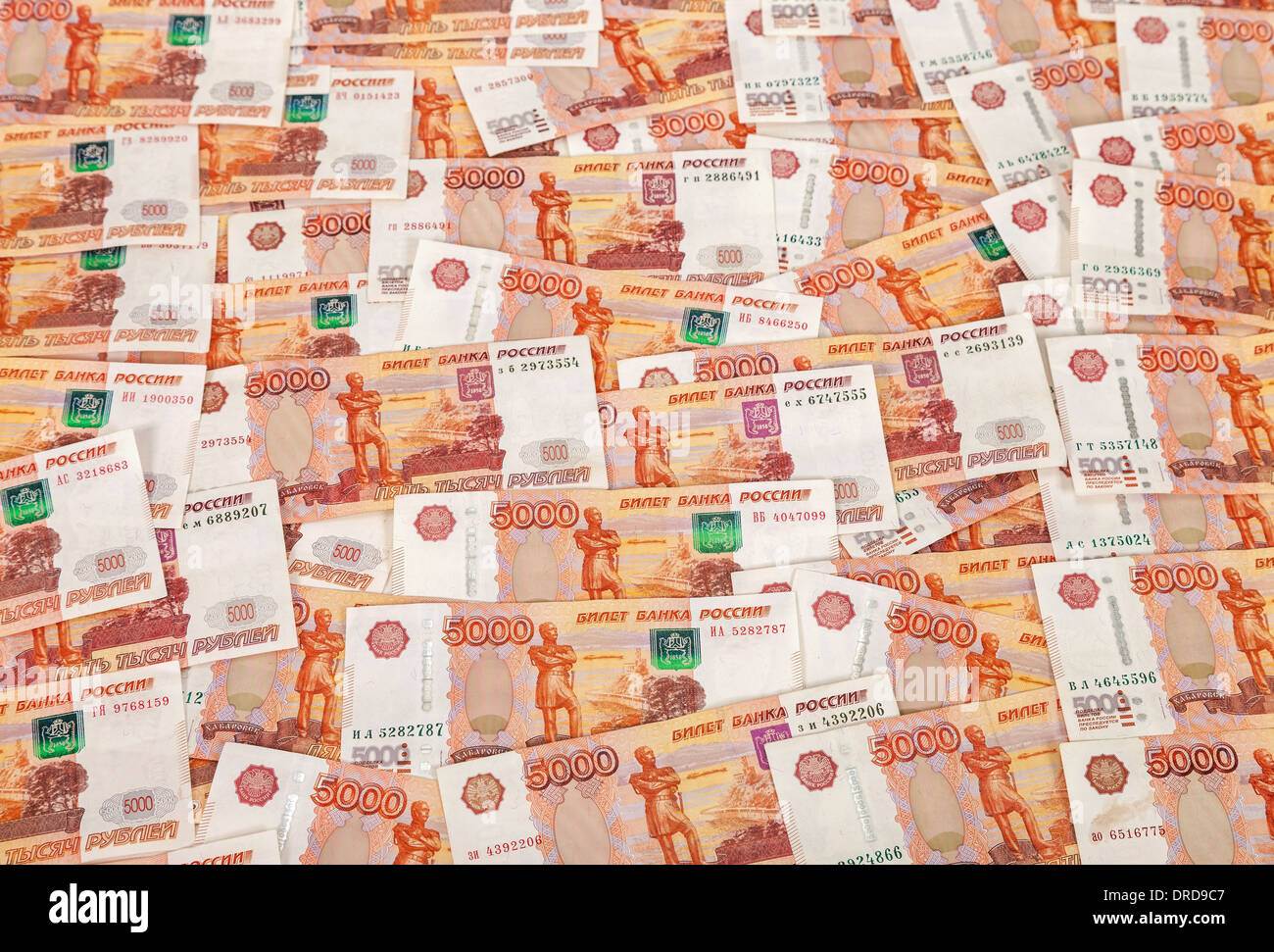 Heap of five thousand russian rubles banknotes as background - Stock Image