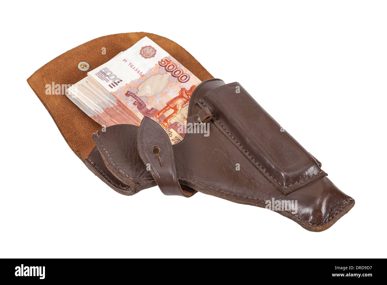Banknotes in the brown leather holster isolated on white background - Stock Image
