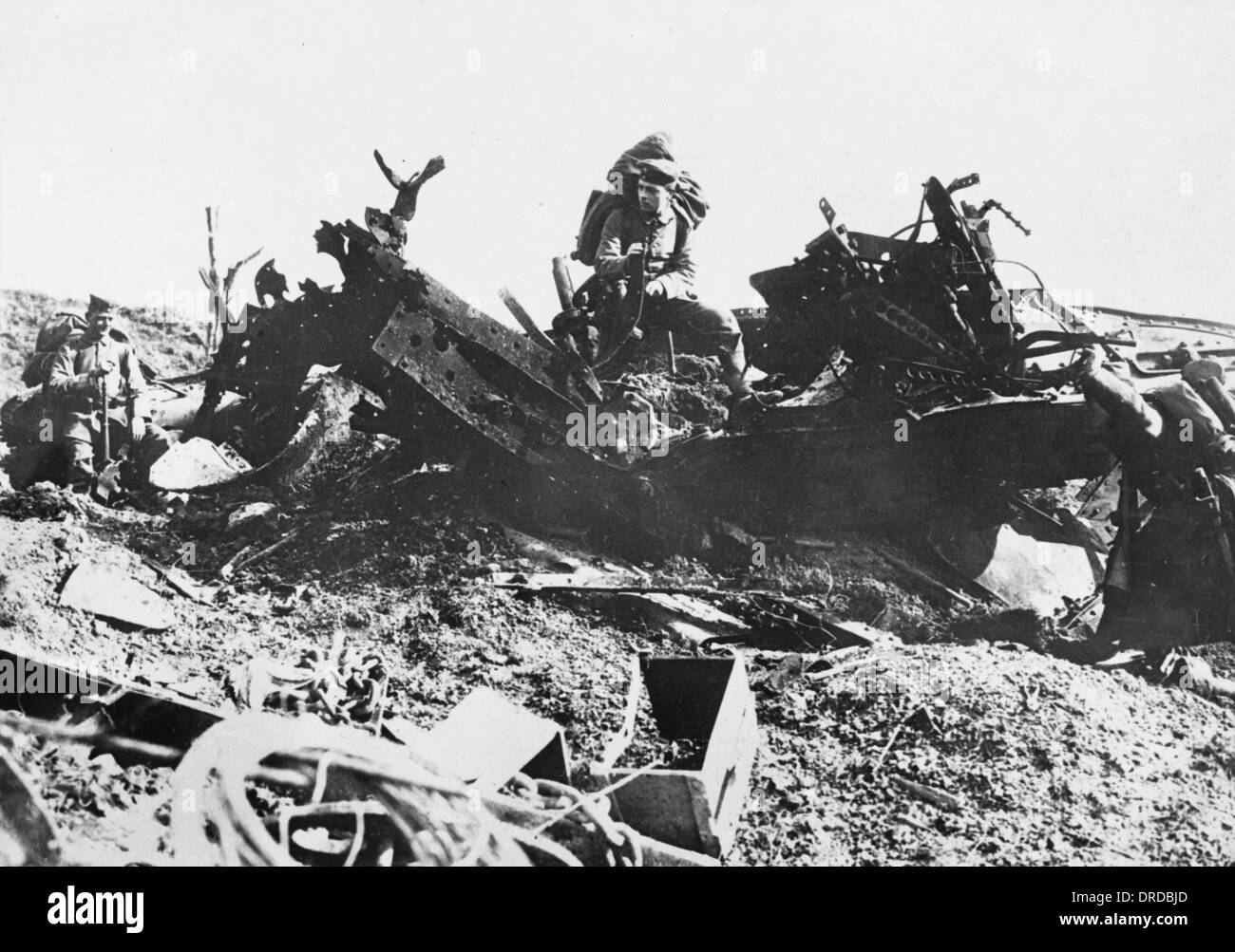 Destroyed Tank WWI - Stock Image