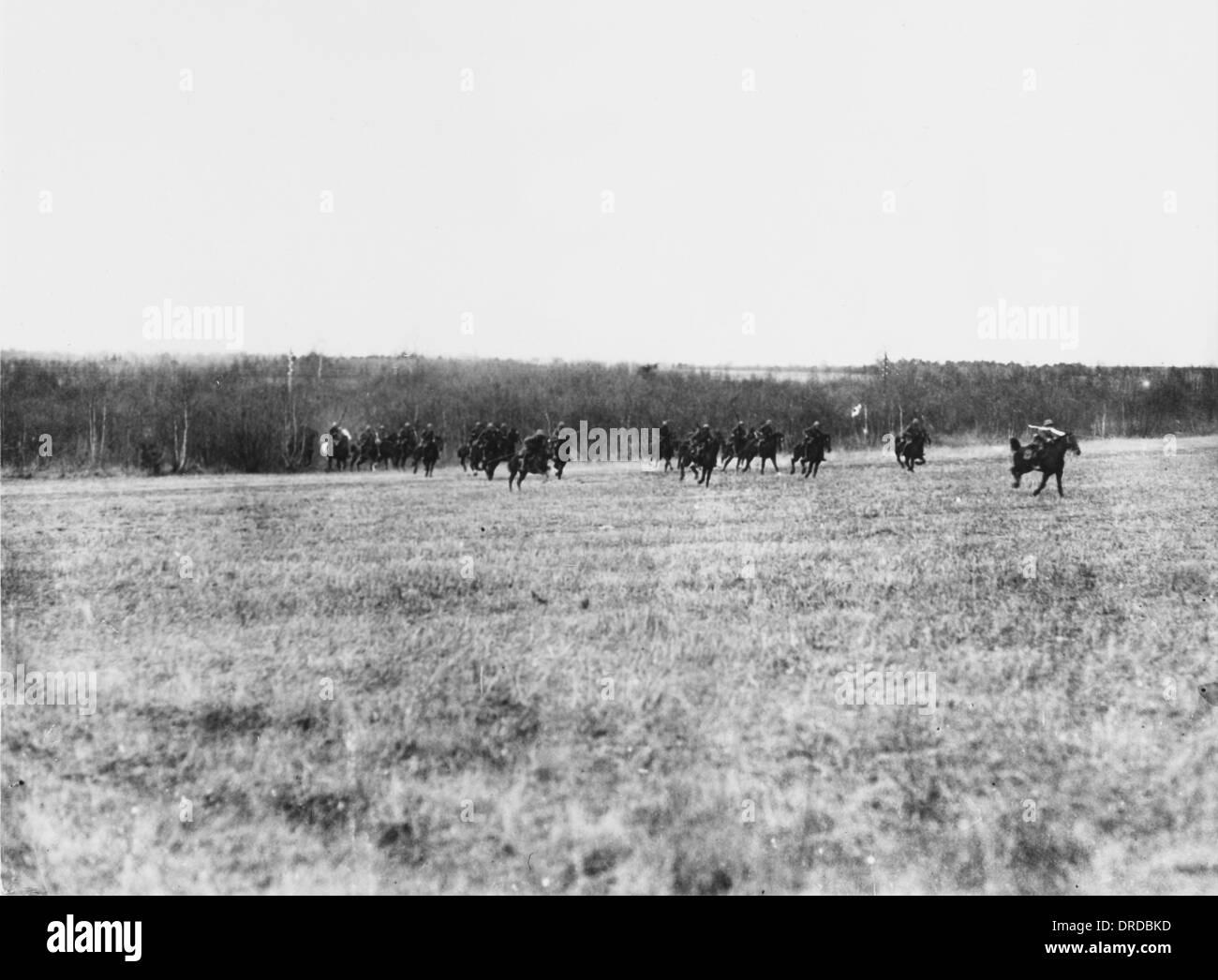 Retiring German cavalry WWI - Stock Image