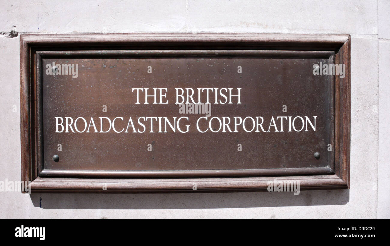 BBC sign outside Broadcasting House, Portland Place, London - Stock Image