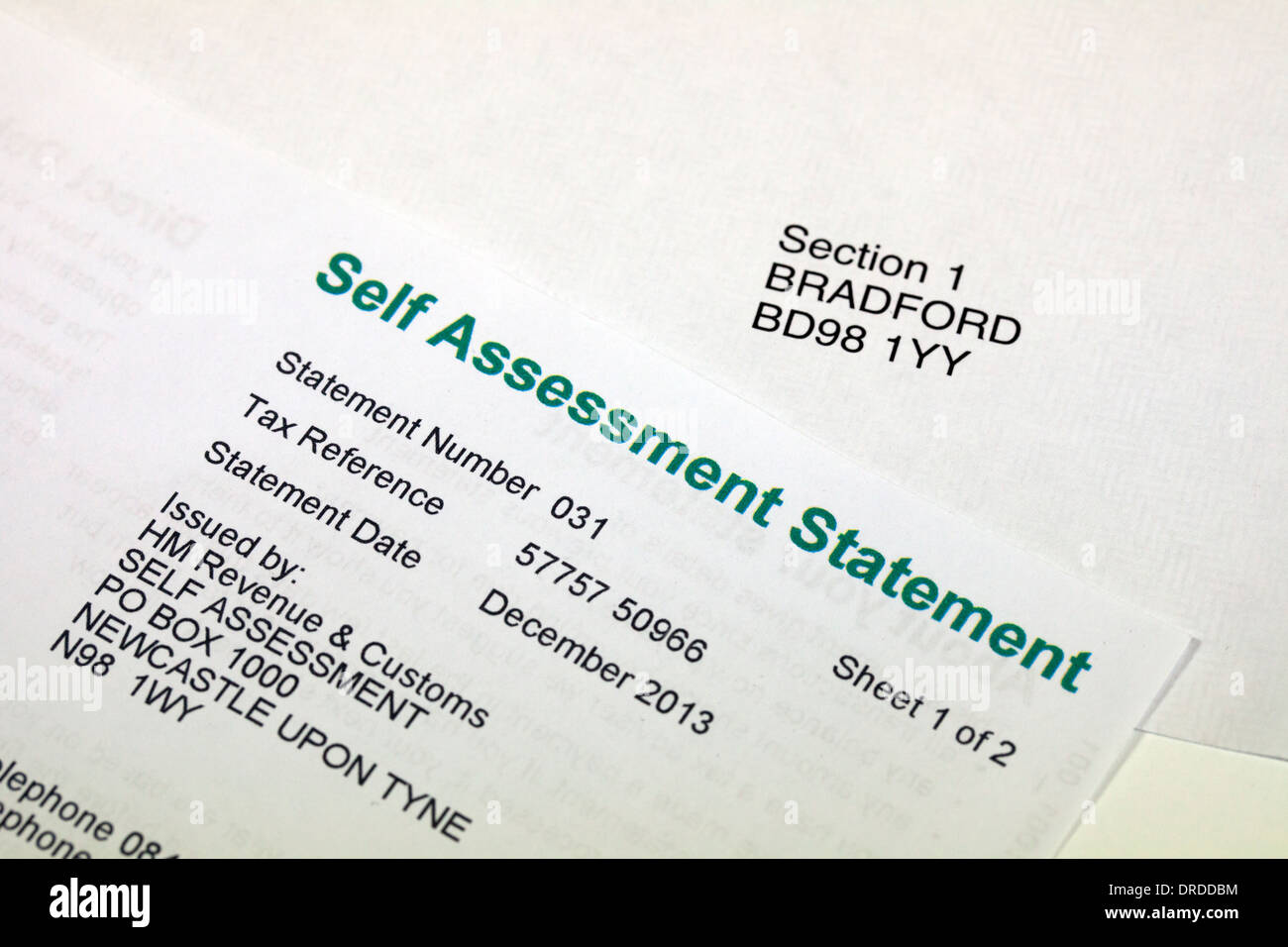 Income Tax Self assessment statement - Stock Image