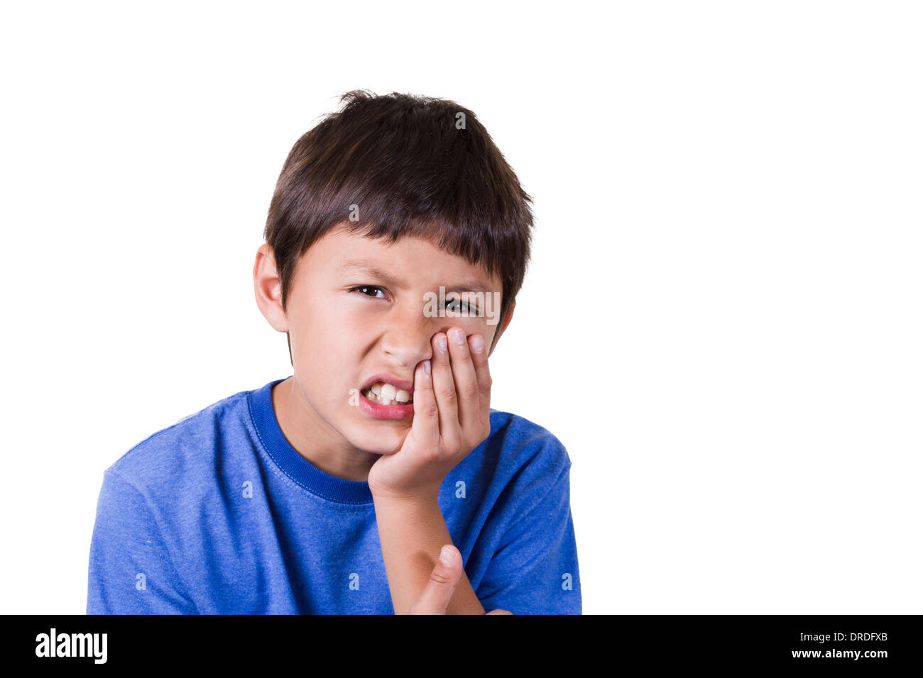 Young boy with toothache - on white background - Stock Image