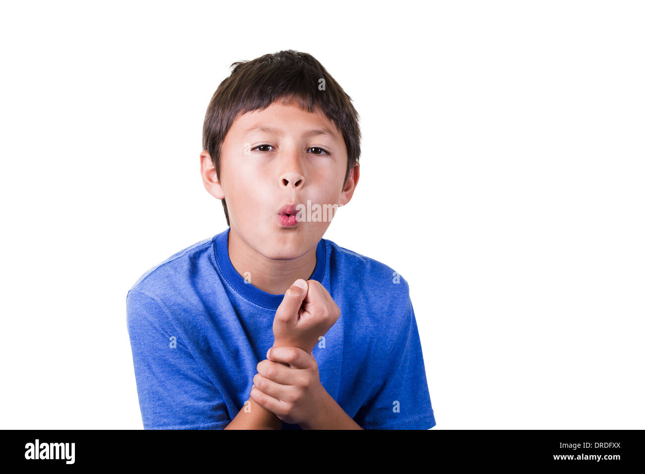 Young boy with sprained hurt wrist - on white background - Stock Image