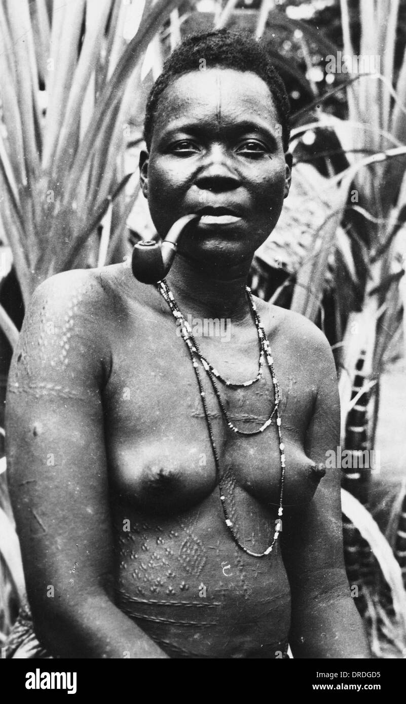 Gabon - Africa - Woman with Scarification - Stock Image
