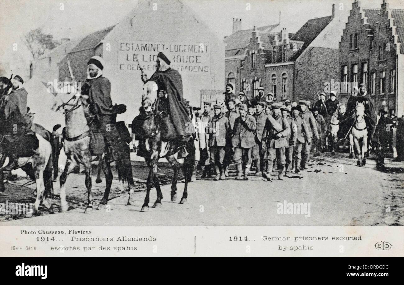 German Prisoners escorted by Spahis - Stock Image