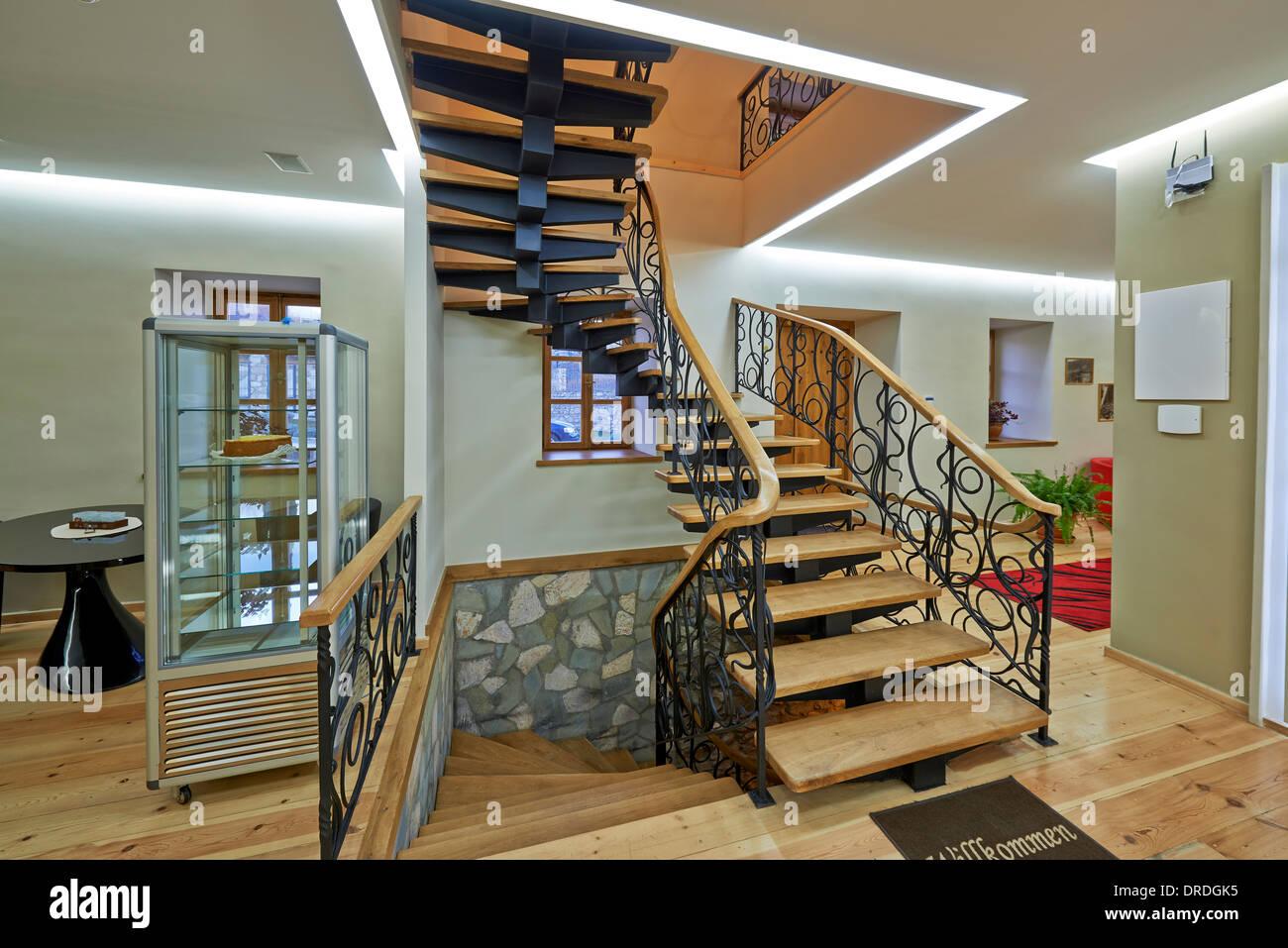 circular stair in lobby, interior shot of Hotel German Mill Bolnisi, Kvemo Kartli, Georgia - Stock Image
