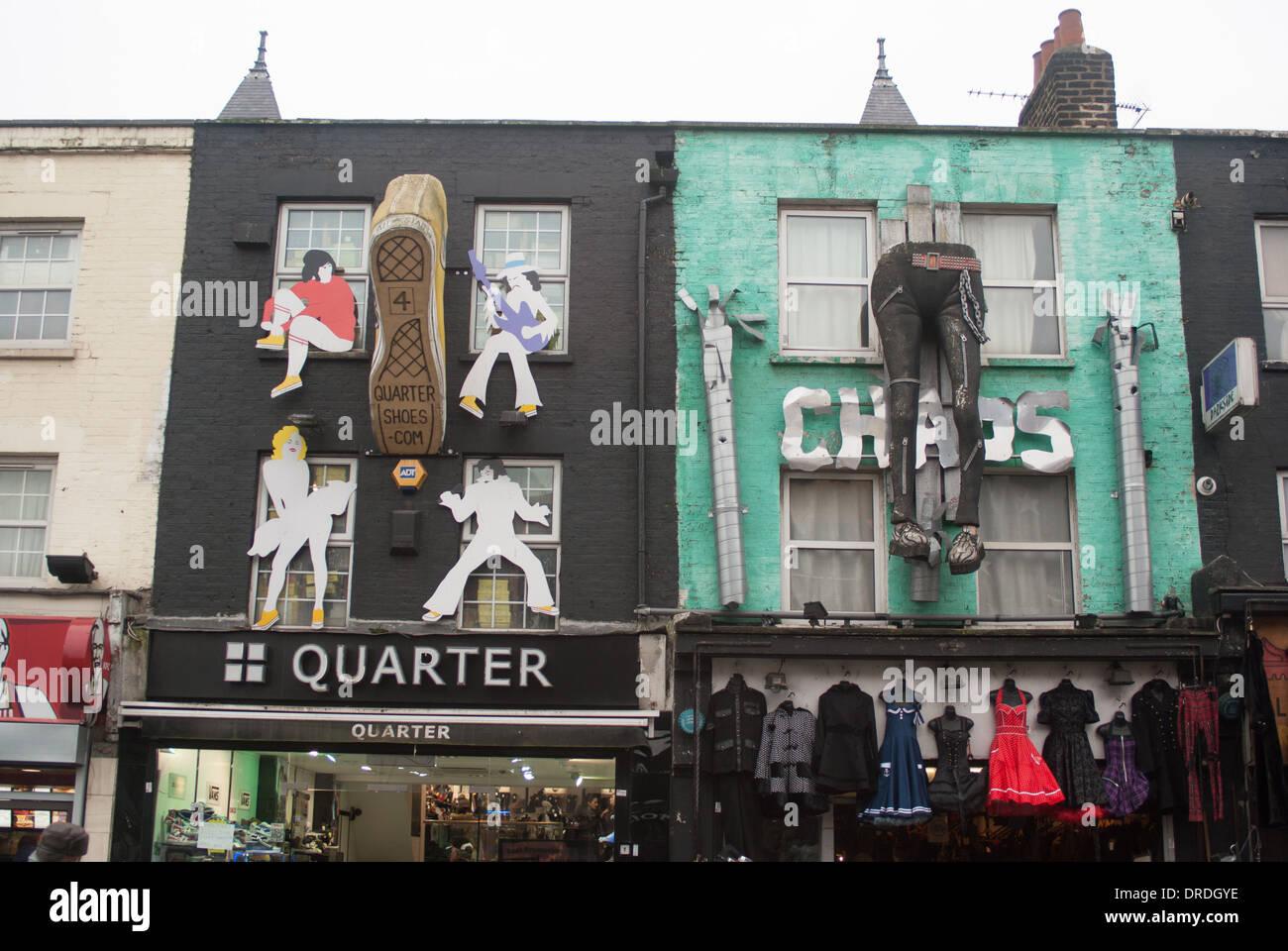 Camden shop fronts  London trendy high street - Stock Image
