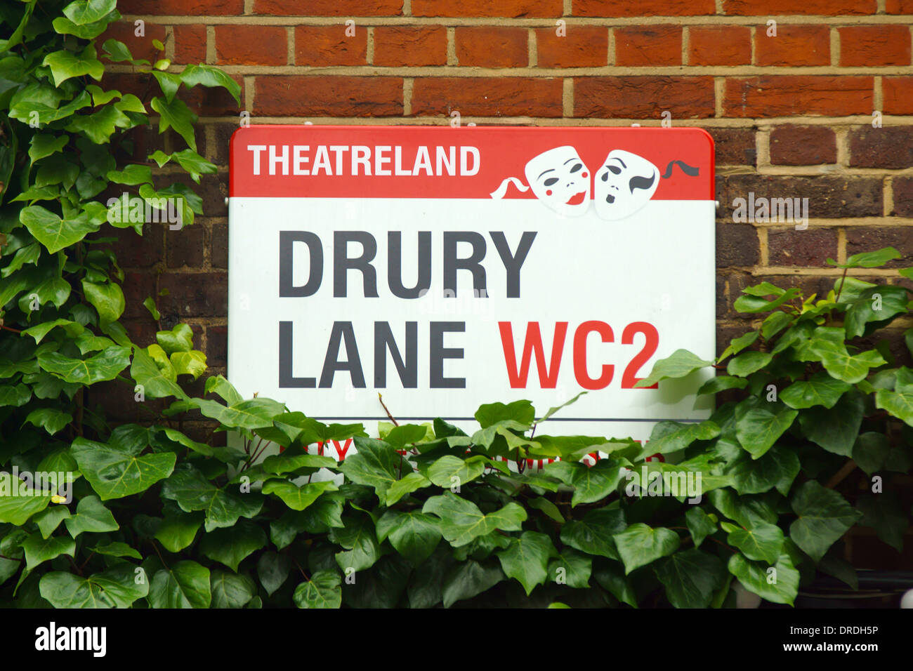 Drury Lane Street Sign Theatreland London - Stock Image