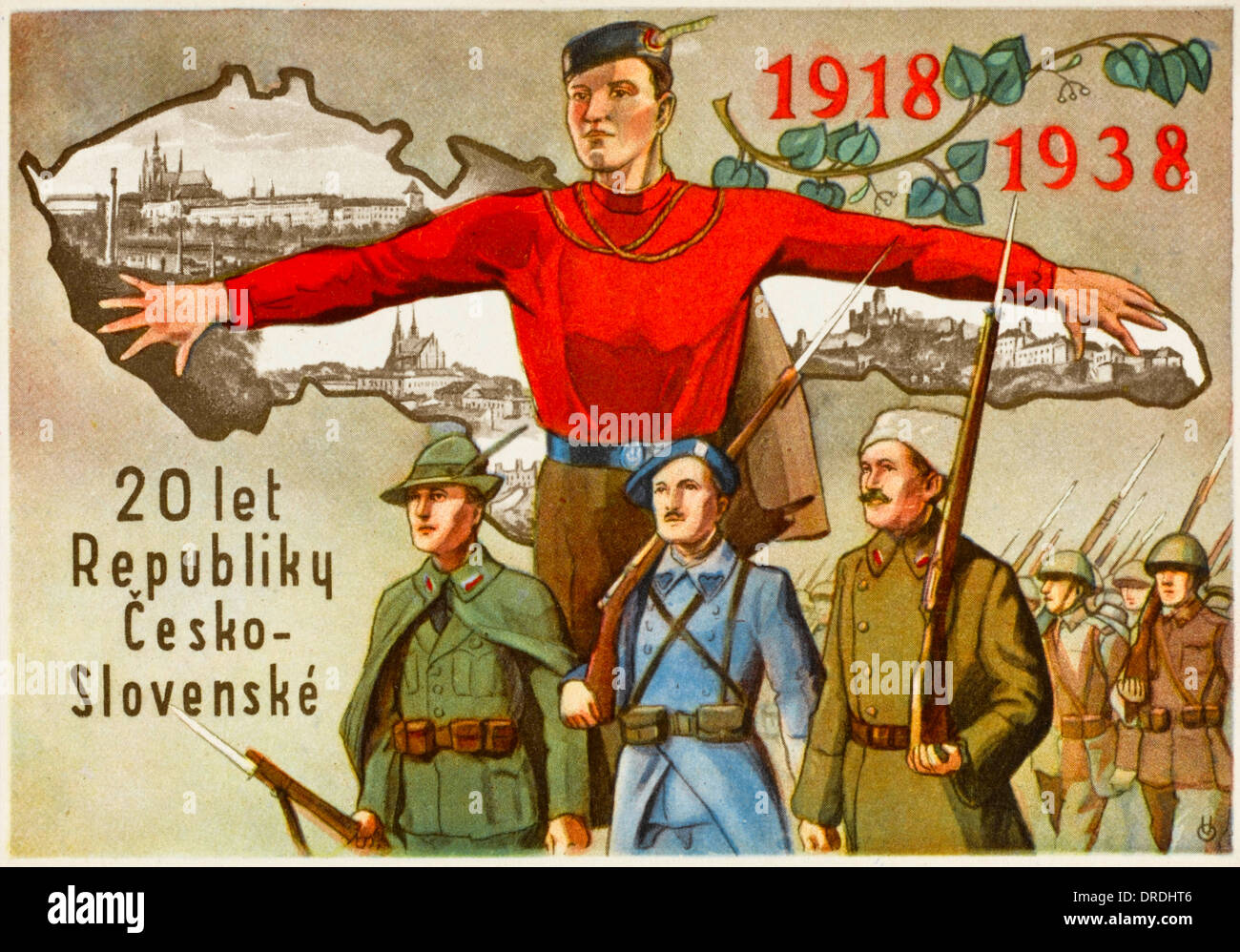 Card celebrating 20 years of Czechoslovakia - Stock Image
