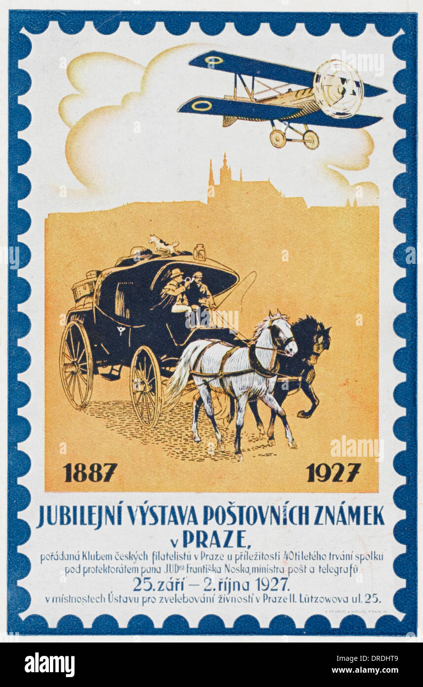 Postal Service Jubilee card - Prague, Czechoslovakia - Stock Image