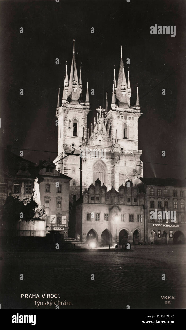 The Church of Our Lady before Tyn - Prague (at night) - Stock Image