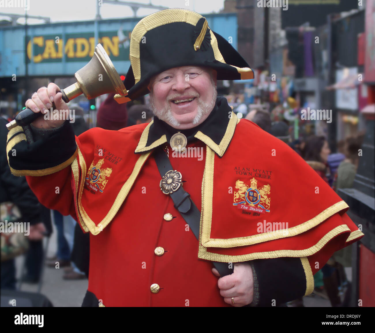 Town Crier ringing bell in camden, London - Stock Image