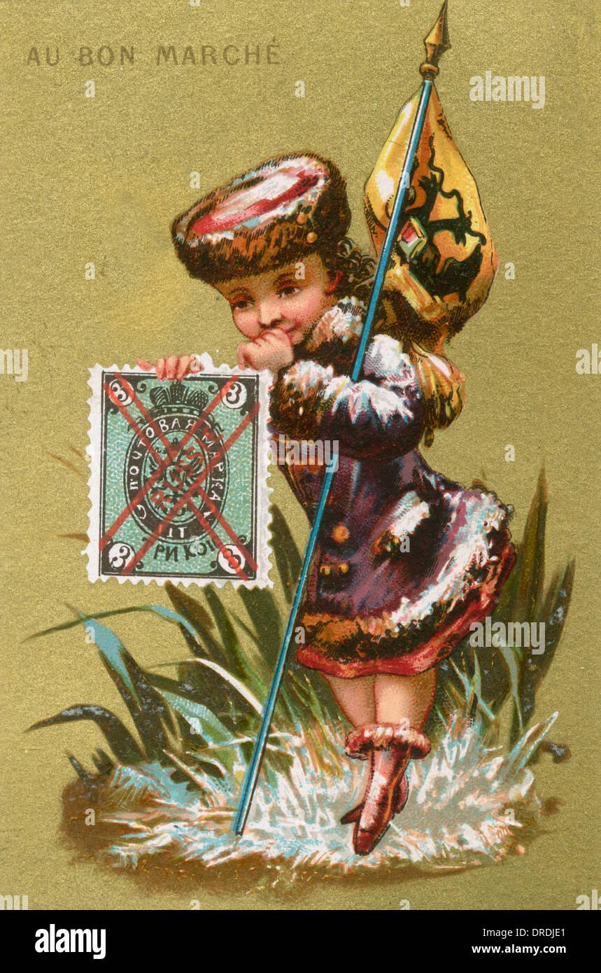 Au Bon Marche card - Russia - Stock Image