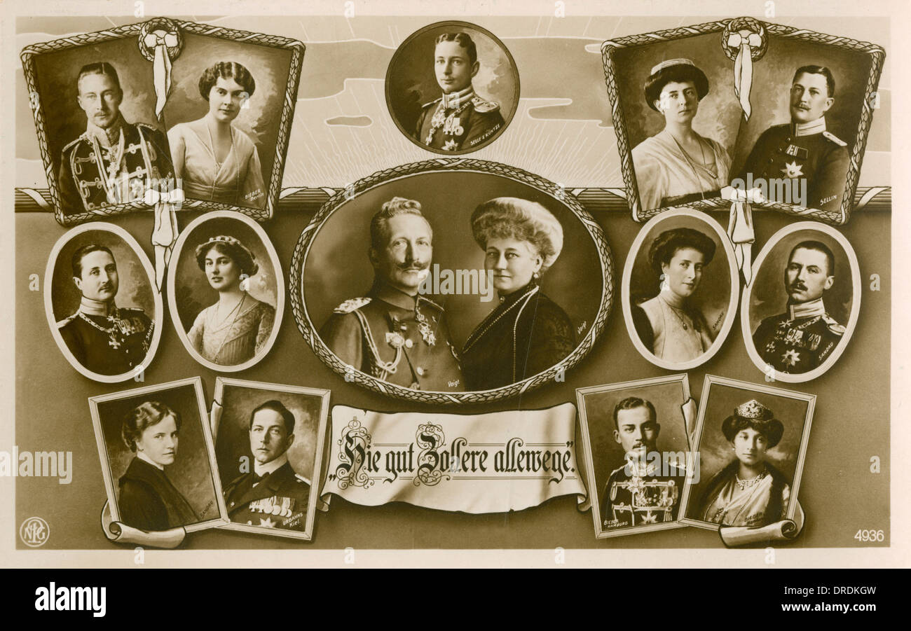 Kaiser Wilhelm II, Emperor of Germany and his family - Stock Image