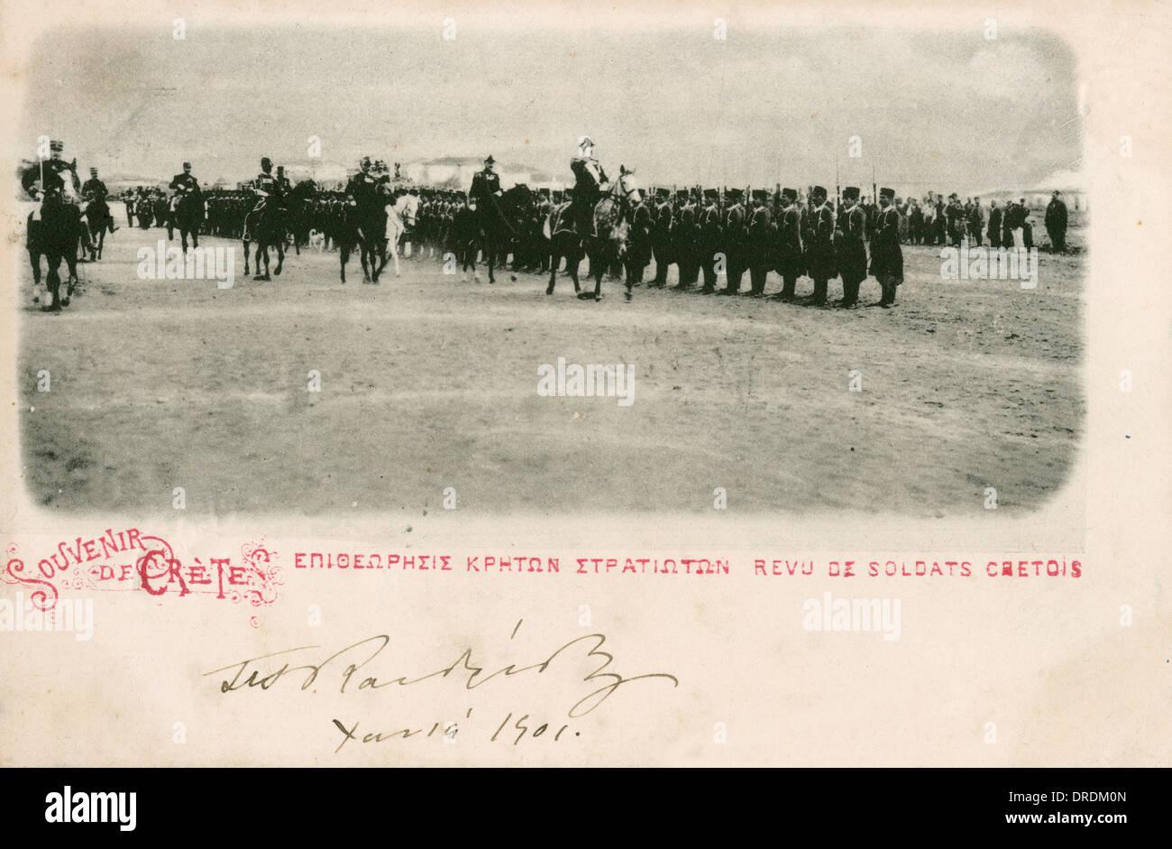 Prince George reviews the Cretan Gendarmerie - Stock Image