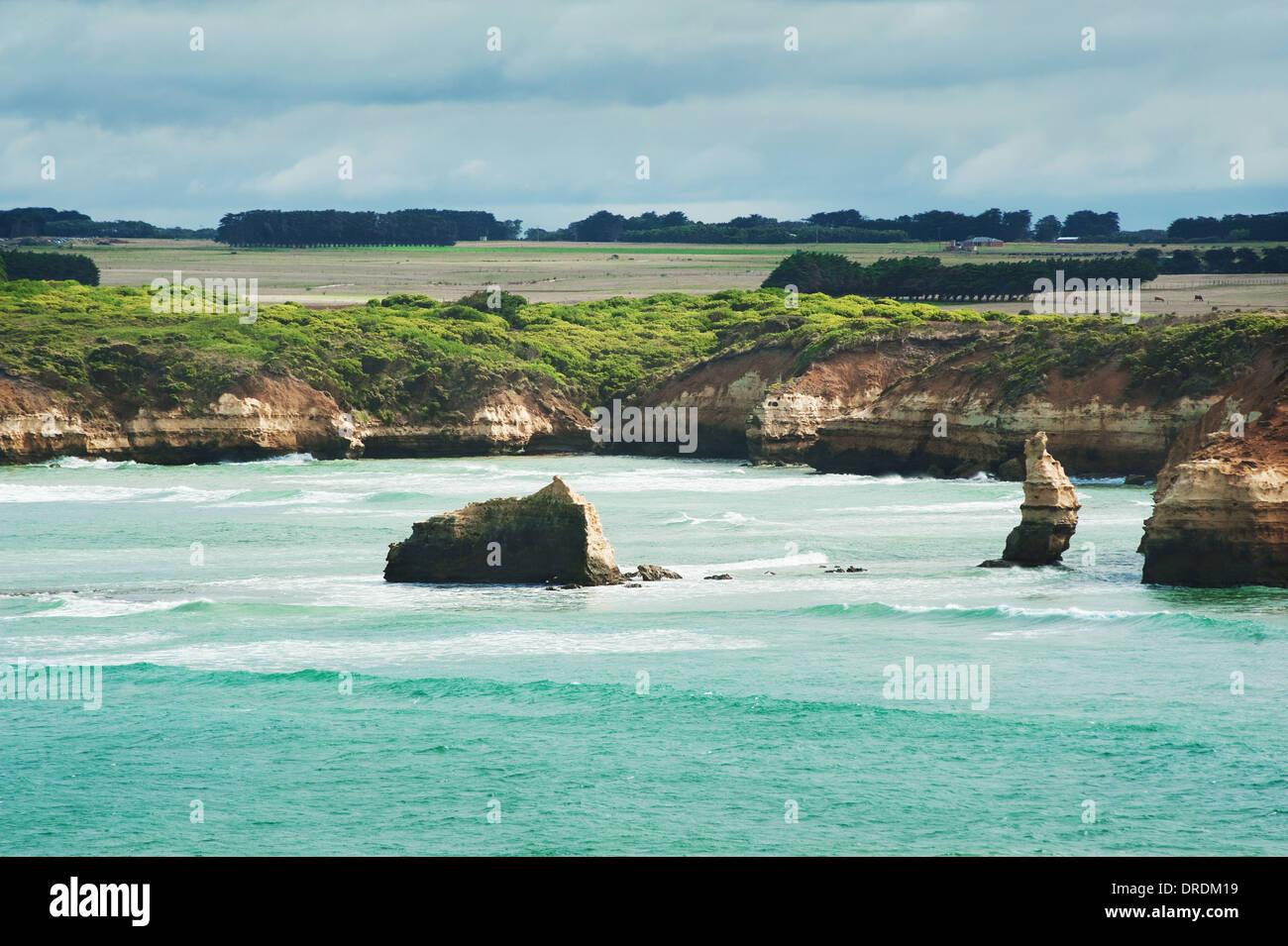 famous Rocks in the Bay of Islands Coastal Park,Great Ocean Road, Australia Stock Photo