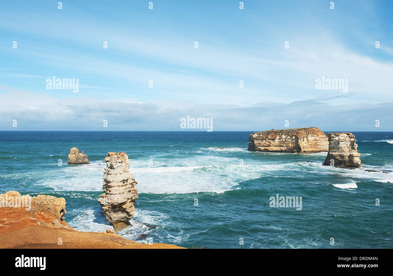 famous Rocks in the Bay of Islands Coastal Park,Great Ocean Road, Australia - Stock Image