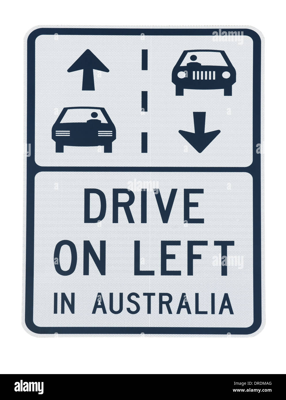 road sign warning about the side of the road to drive on car in Australia - Stock Image