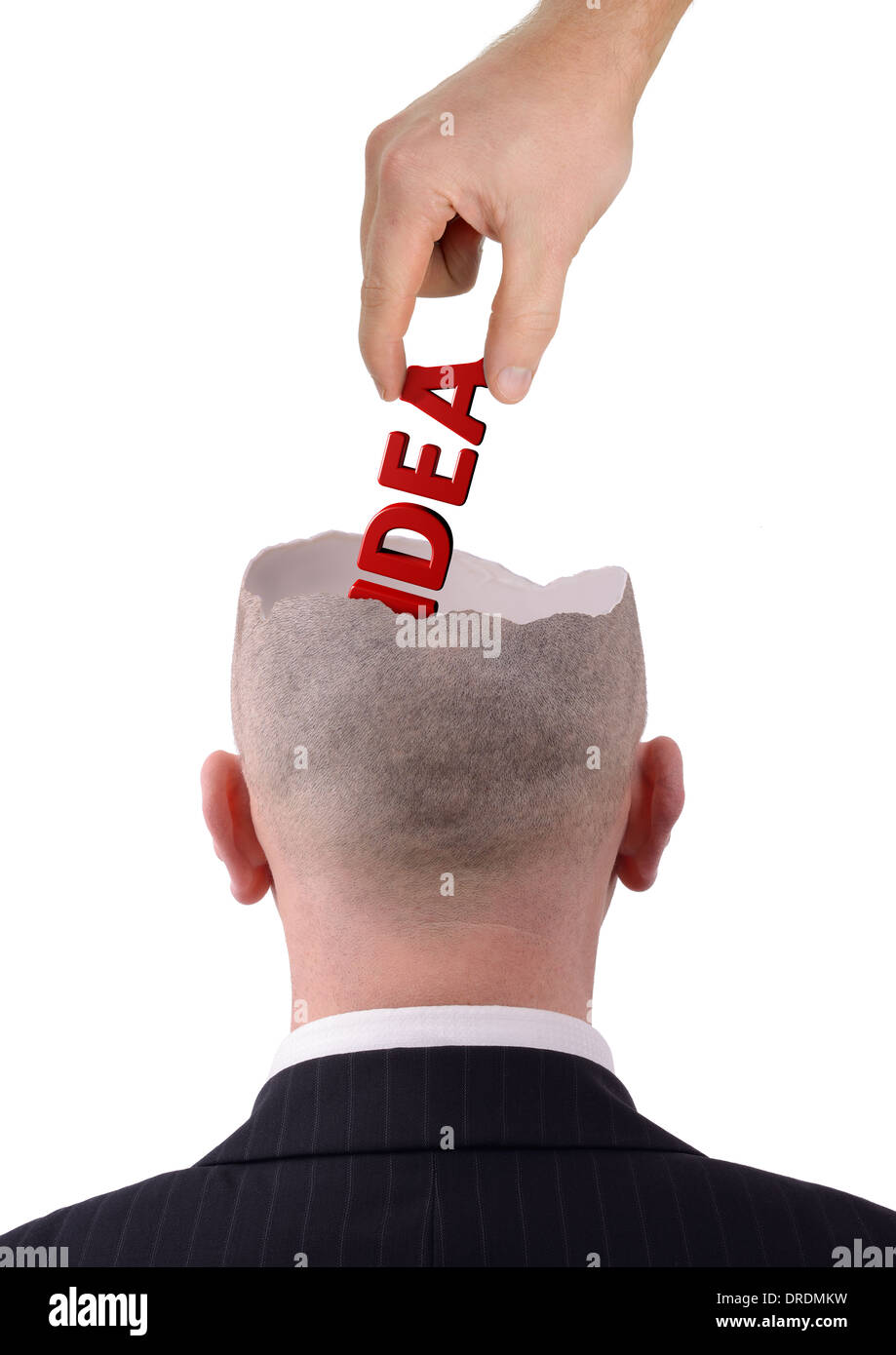 Pulling out a good idea of a head isolated on a white background - Stock Image