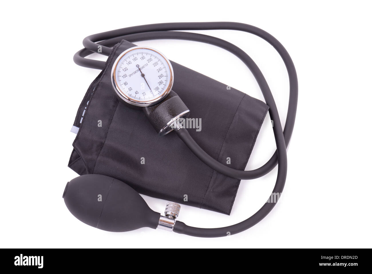Sphygmomanometer isolated on a white background with clipping path - Stock Image