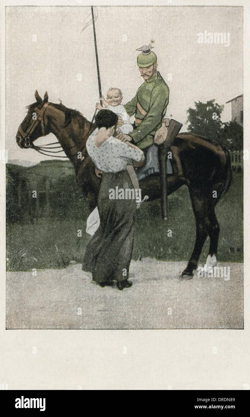 German Uhlan Cavalry - WWI - Stock Image