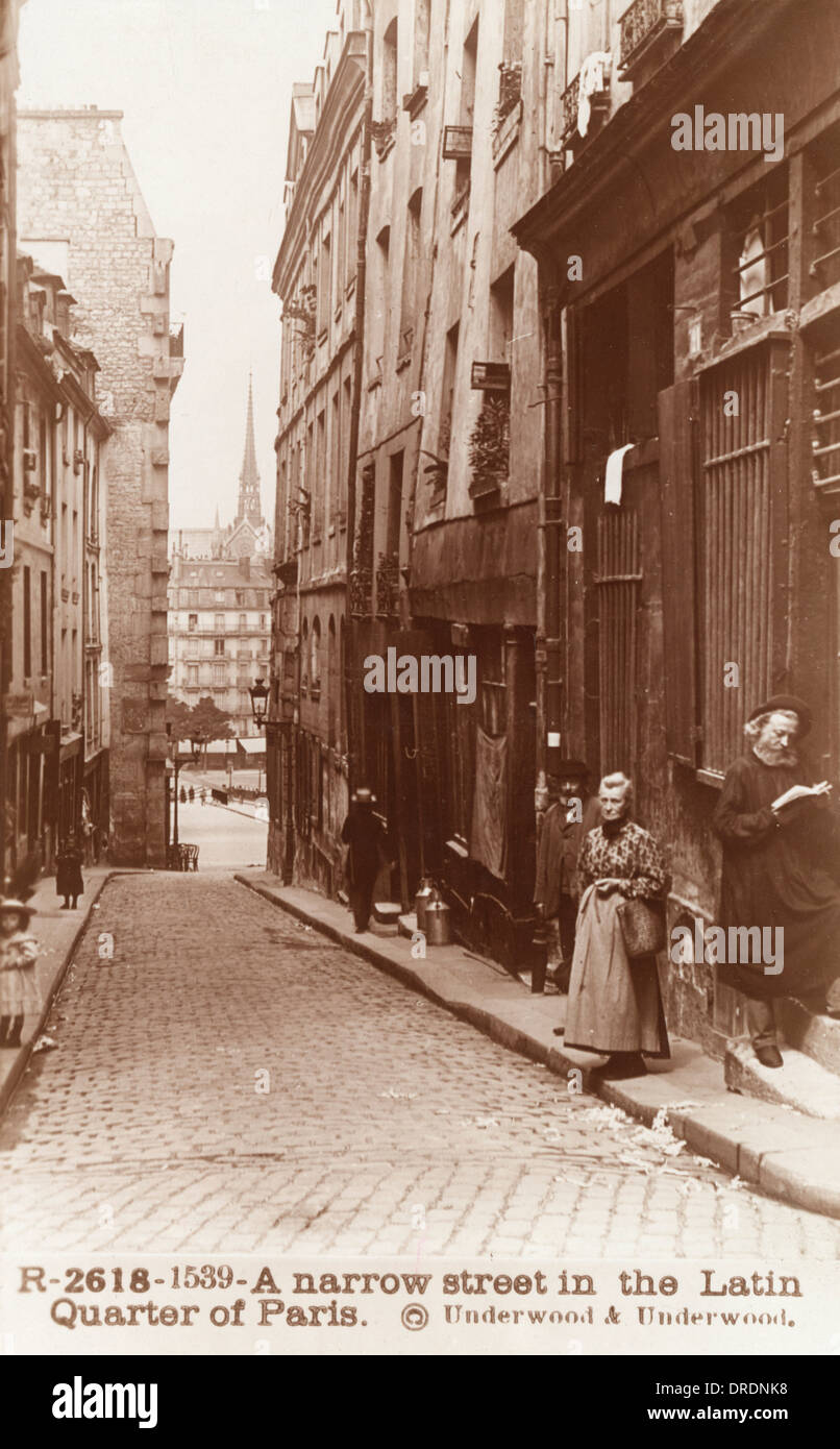 Street in the Latin Quarter, Paris - Stock Image