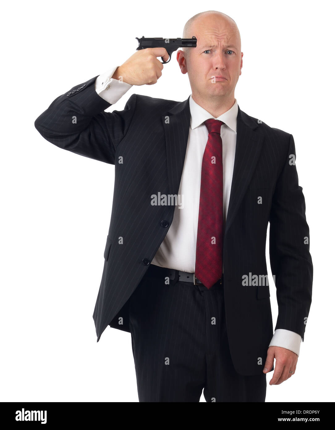Businessman over stressed committing suicide isolated on white - Stock Image