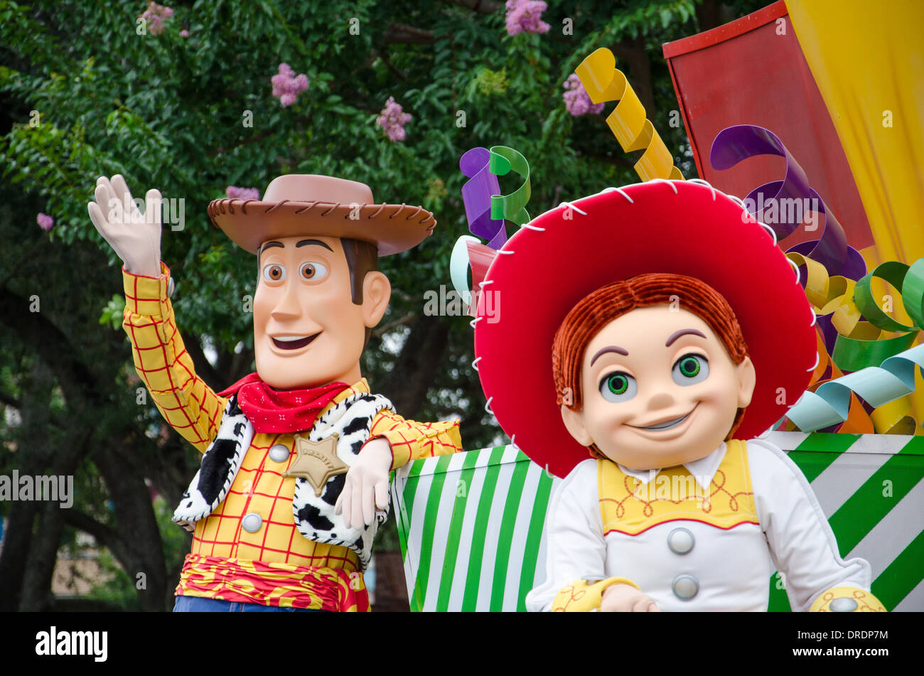 Woody and Jessie from Toy Story in the Magic Kingdom Parade at Walt Disney World Florida - Stock Image