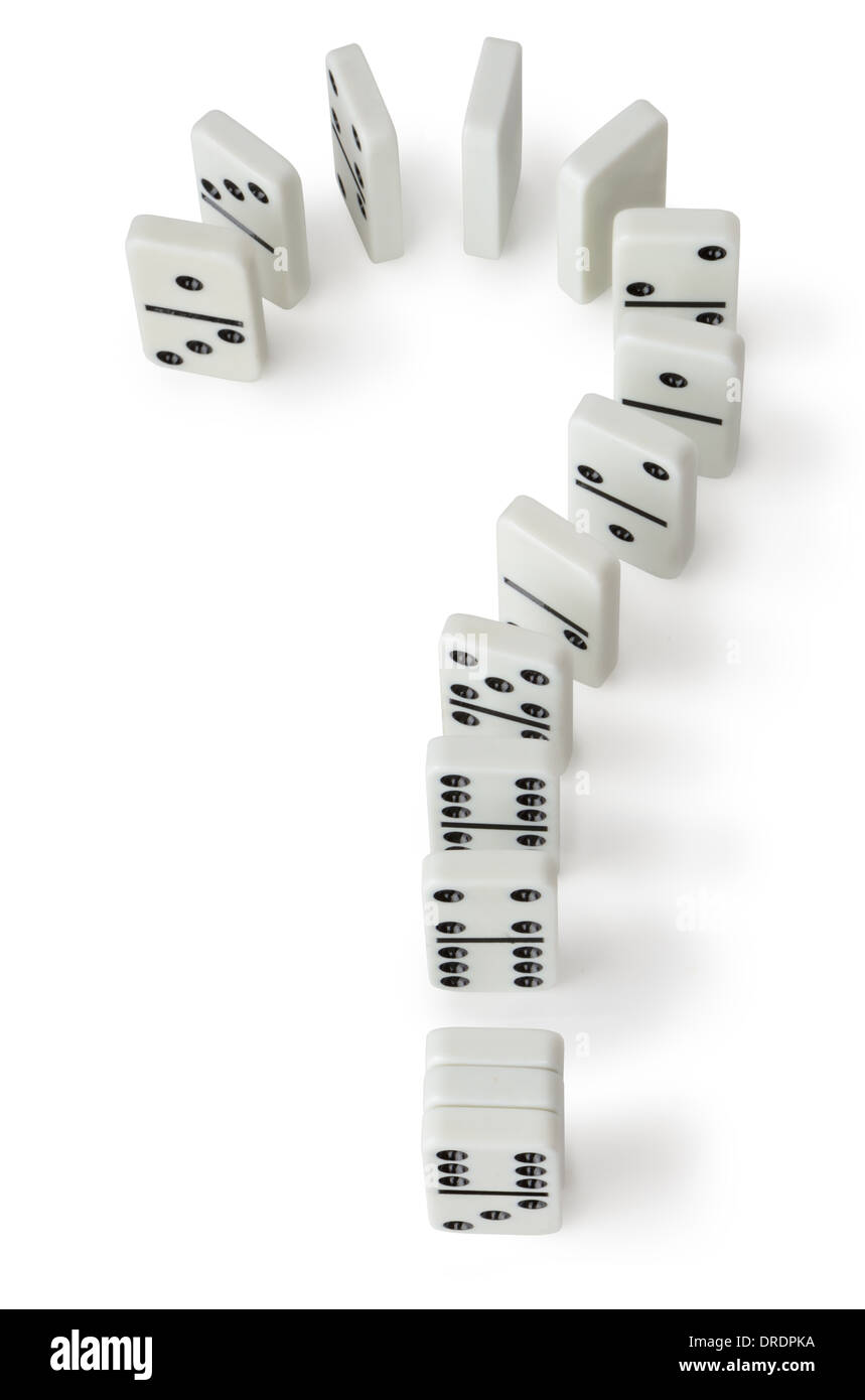 Concept of a question leading to more questions, a domino question mark on a white background - Stock Image