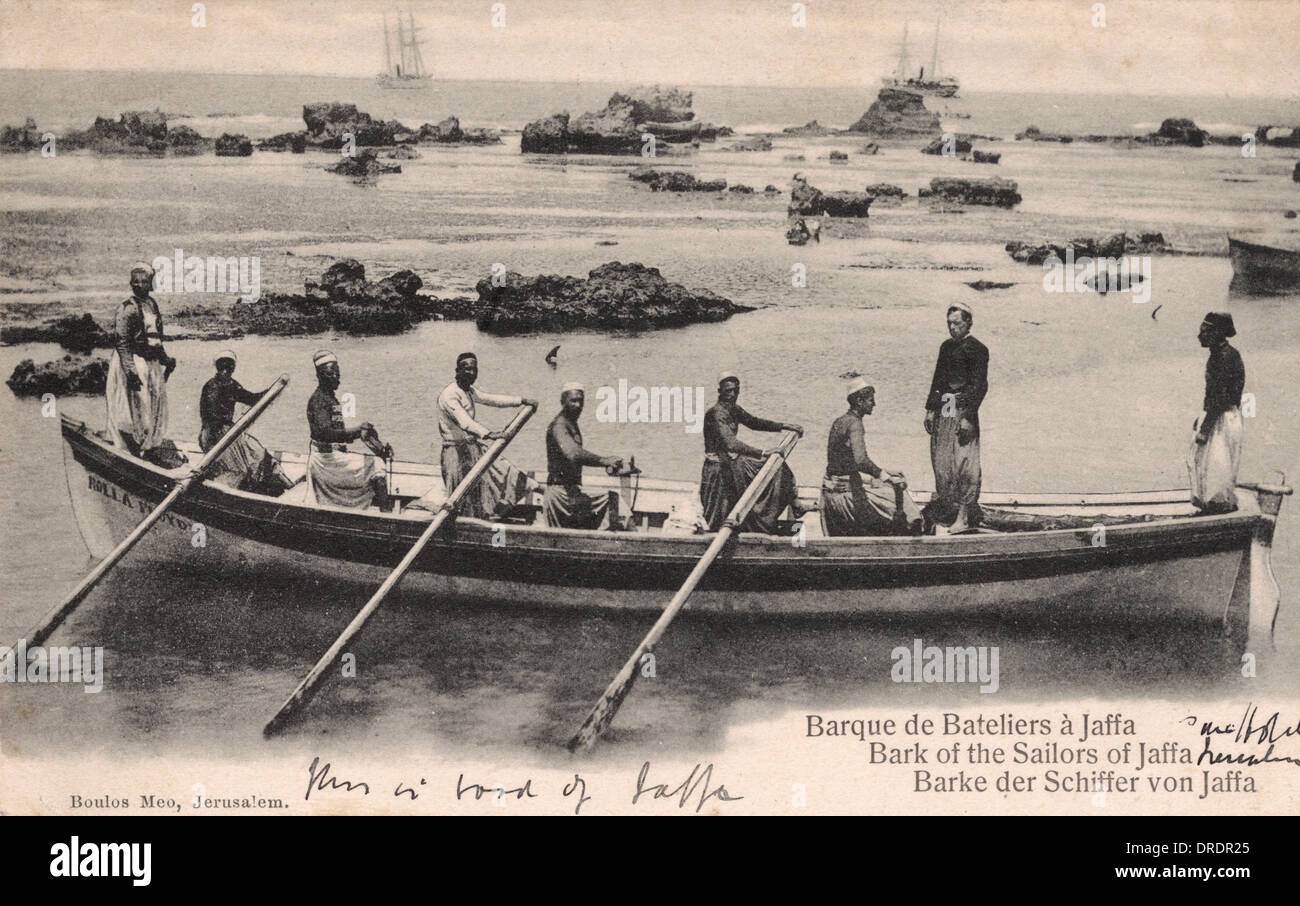 Boatmen of Jaffa in their barque - Stock Image
