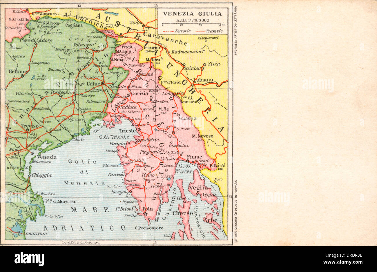 Italy - Venice - Map of the local region - Stock Image
