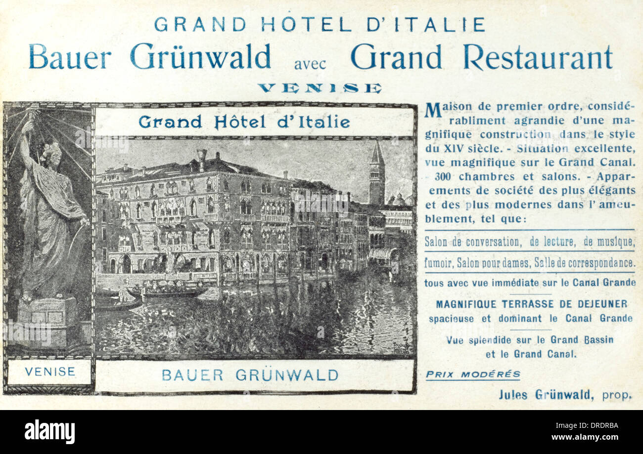Bauer Grunwald Hotel, Venice, Italy - Stock Image