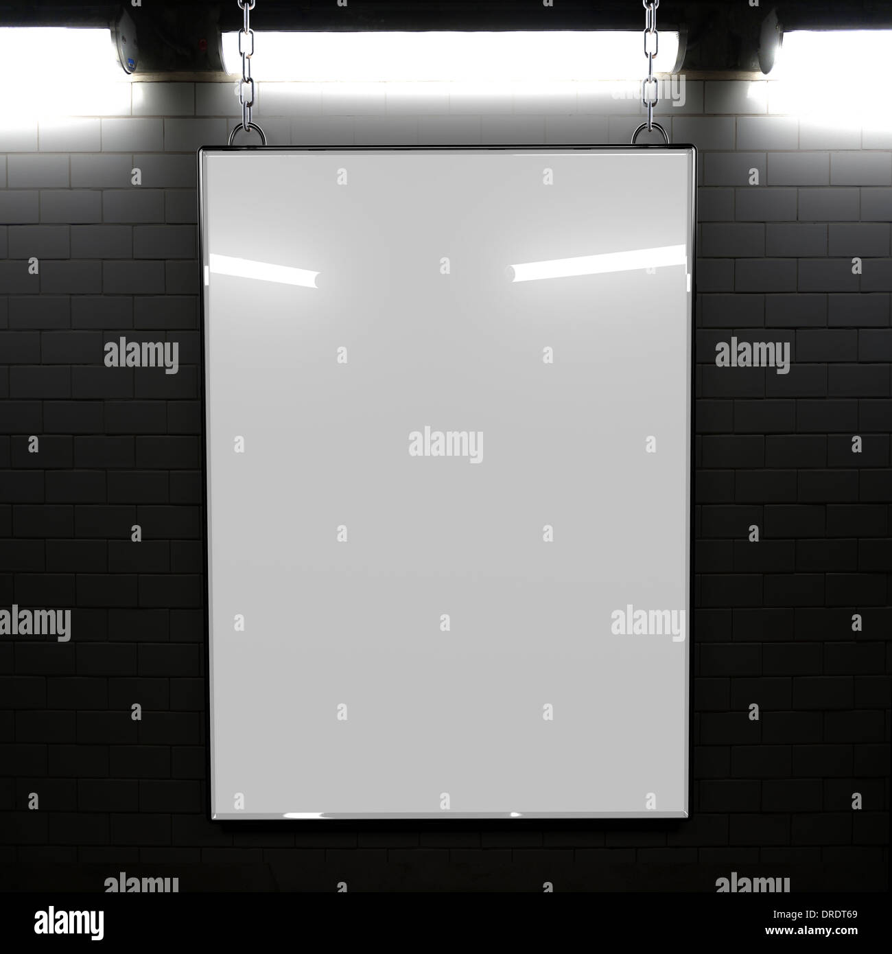 A top lit billboard in a subway with blank area for copy space - Stock Image