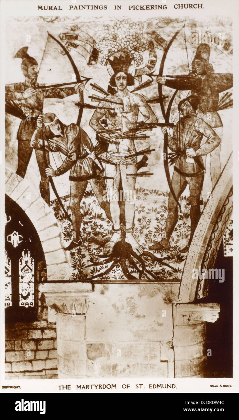 Mural in Pickering Church - Martyrdom of St Edmund - Stock Image