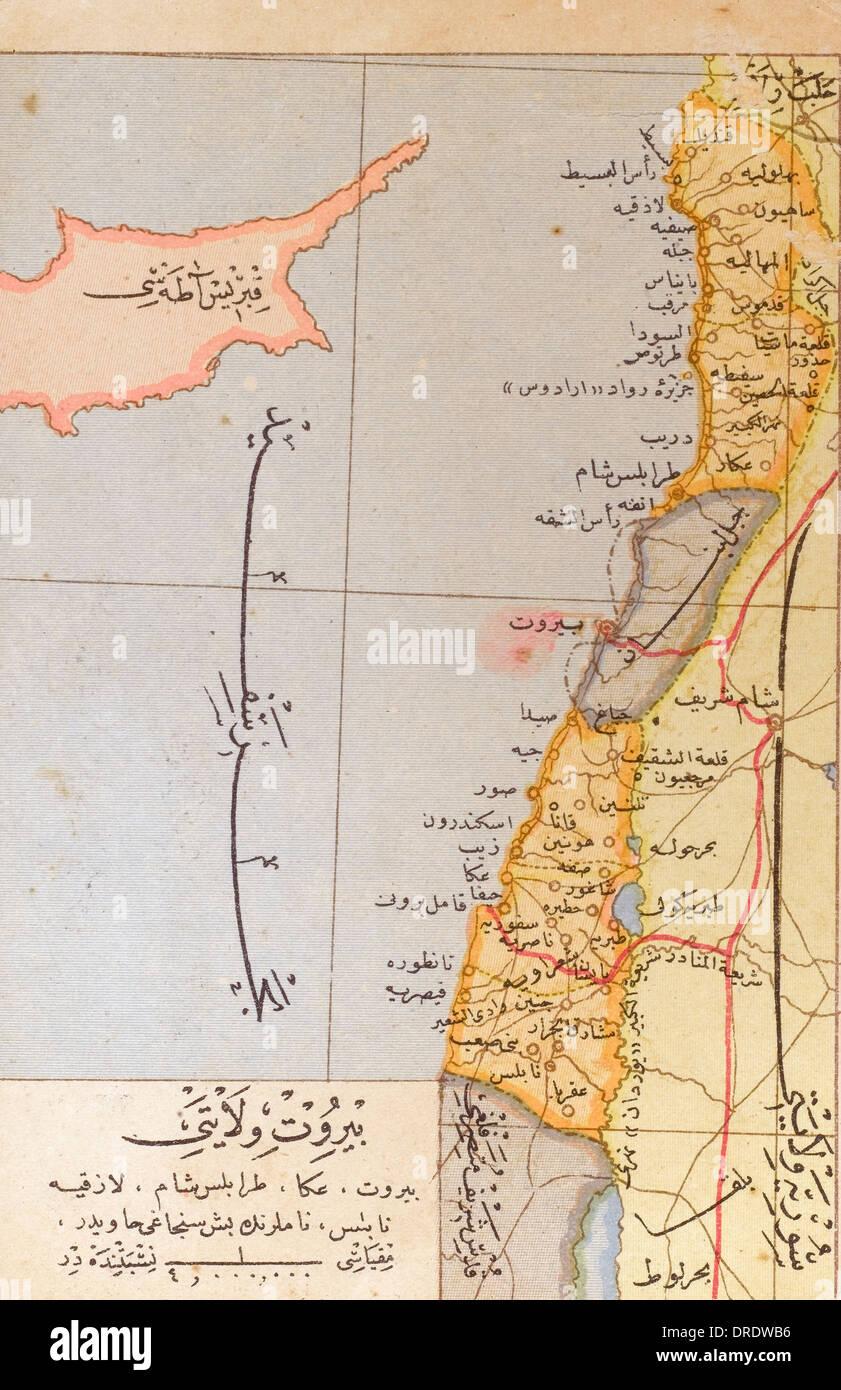 Ottoman Map of Lebanon - Stock Image