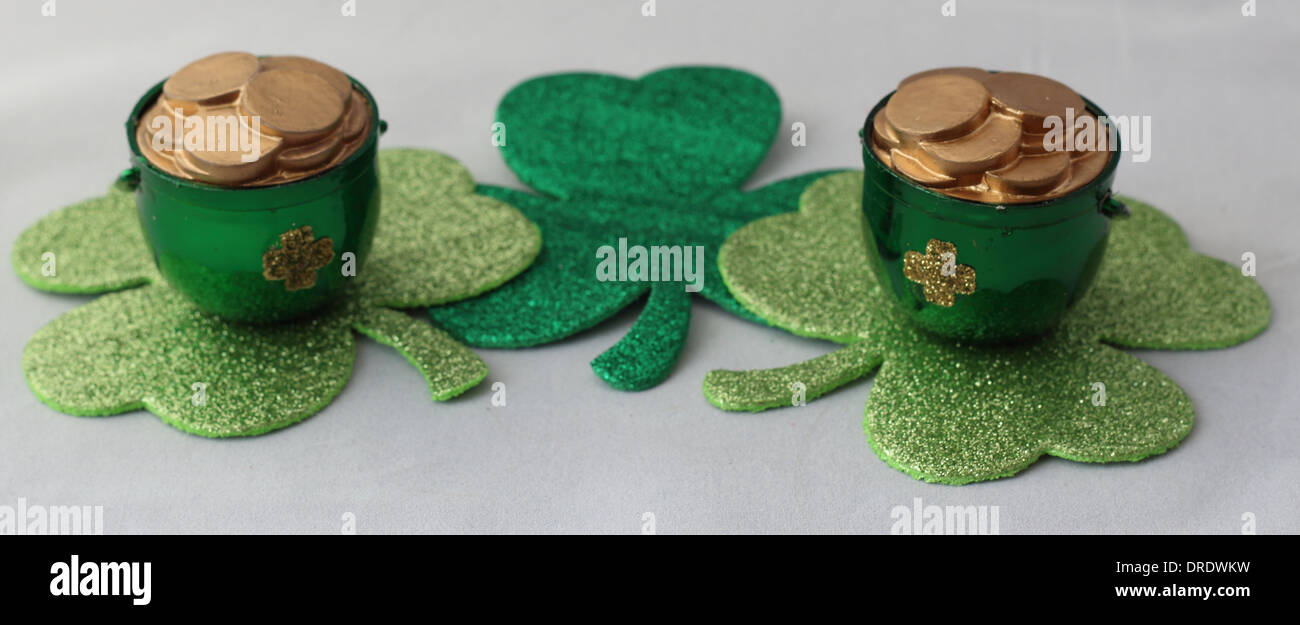 Pot of Gold on Four Leaf Clovers - Stock Image