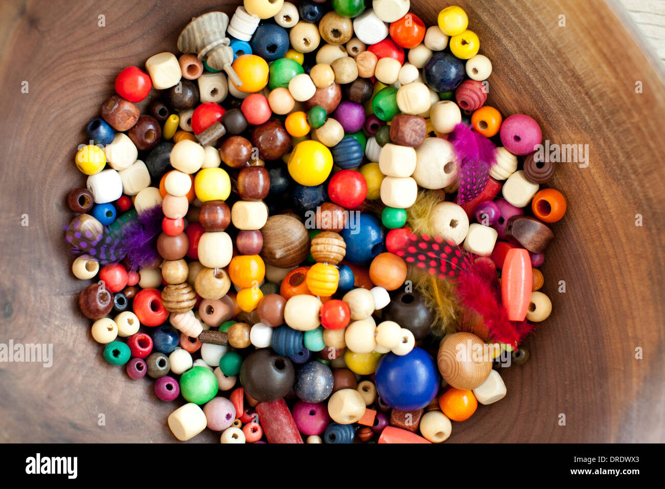 Detail bowl of wooden beads - Stock Image