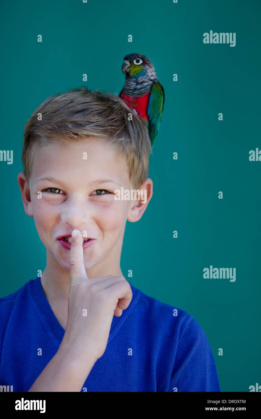 Young boy with pet parrot Stock Photo