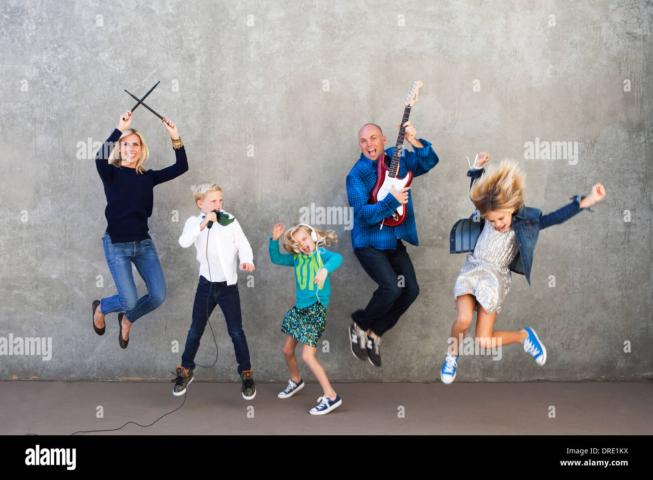 Family rocking out Stock Photo