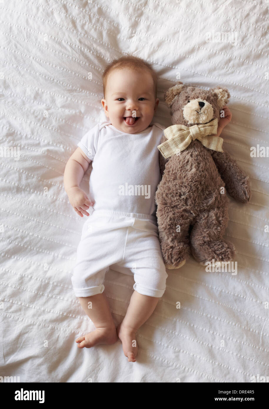 Baby laying on blanket with teddy bear - Stock Image