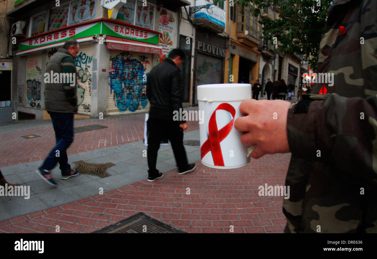 aids collect street volunteers in the Palma de Mallorca, Spain - Stock Image